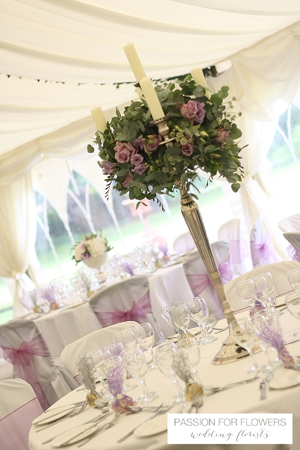 Grafton manor wedding flowers candelabra
