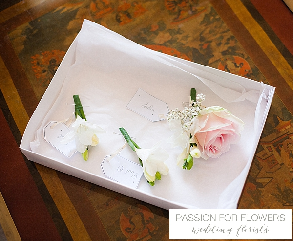 blush pink wedding buttonholes