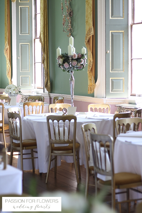 Staunton Harold Wedding Table Flowers Candelabra
