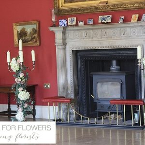 Staunton Harold Wedding Entrance Fireplace Flowers