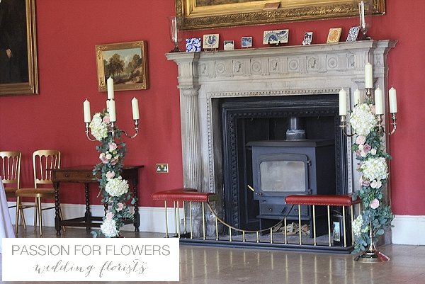 Staunton Harold Wedding Entrance Fireplace Flowers
