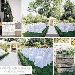 Warwick House Wedding Flowers outdoor Ceremony