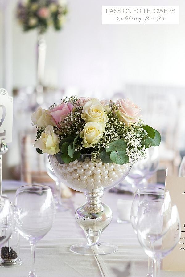 alrewas hayes blush pink cream rose footed vases wedding flowers