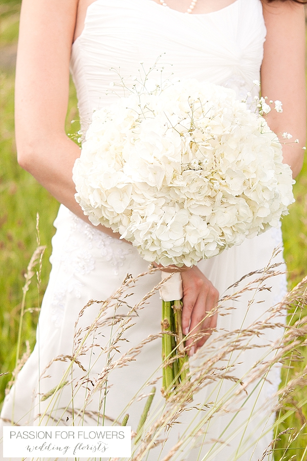 alveston pastures farm wedding bouquet white hydrangeas