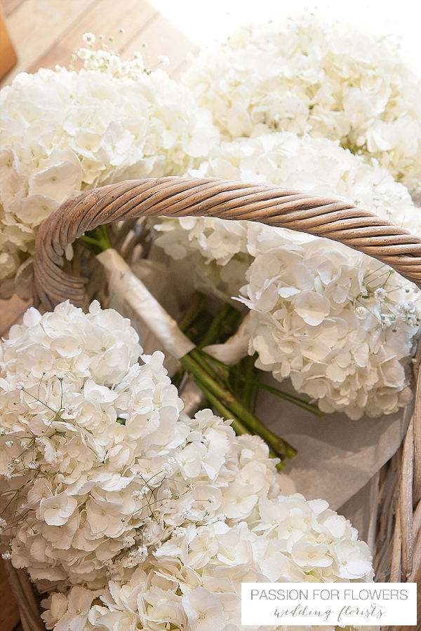 white hydrangeas wedding bouquets