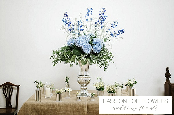 blue hydrangeas delphiniums large silver urn wedding flowers passion for flowers