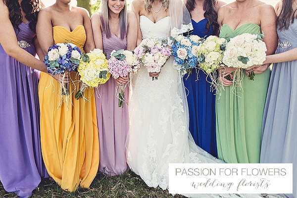 bridesmaids bouquets blue yellow pink green wedding flowers passion for flowers