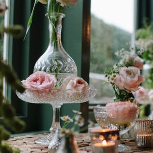 blush pink roses crystal vases hampton manor wedding florist