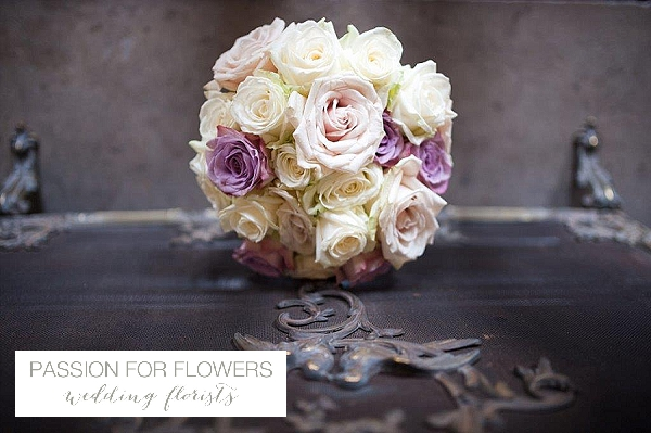 purple rose brides bouquet