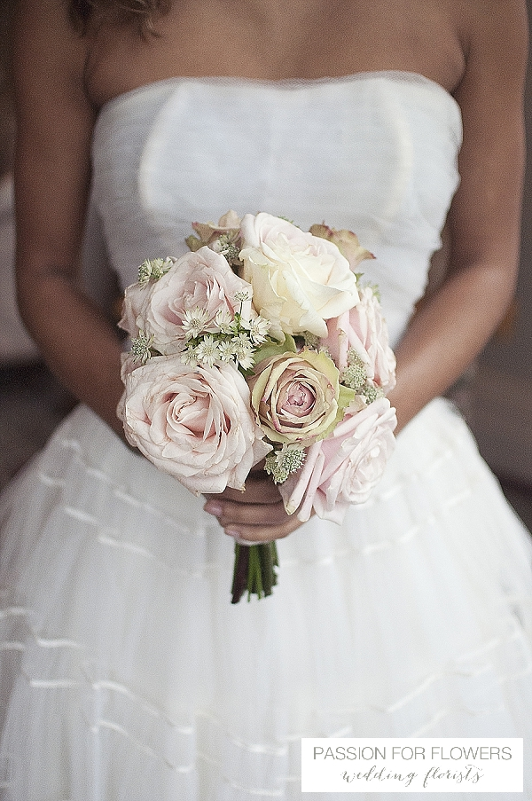 dusky pink vintage rose bouquets wedding flowers