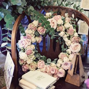 dusky pink rose wreath wedding flowers