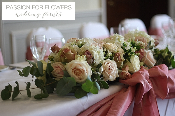 Mocha dusky pink wedding flowers passion for flowers dusky pink roses for top table wedding flowers mightylinksfo