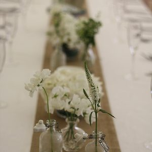 hidcote manor long guest tables wedding flowers