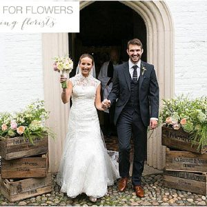 rustic country style church wedding flowers wooden crates