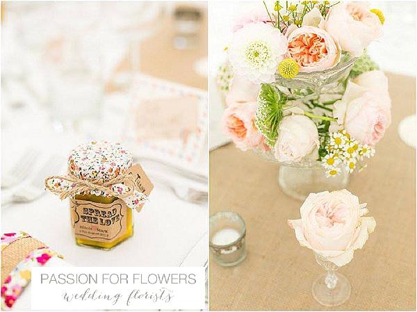 iscoyd park wedding centrepiece flowers crystal vases cake stands
