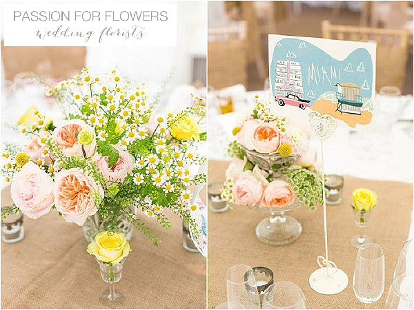 iscoyd park peach yellow wedding flowers crystal vases