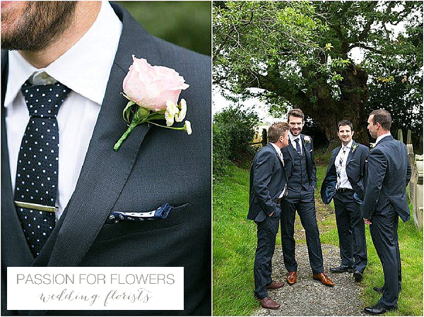 wedding buttonholes blush pink roses