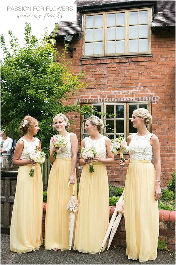 yellow bridemaids dresses wedding bouquets