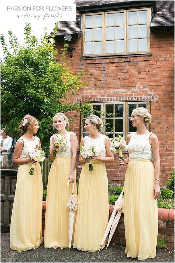 yellow bridemaids dresses wedding bouquets