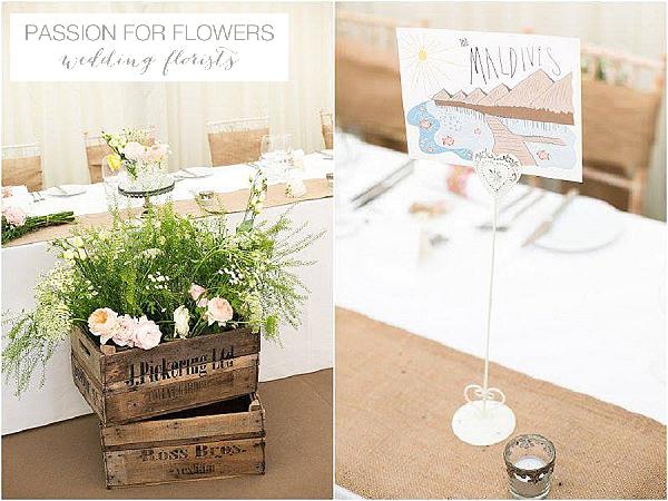 iscoyd park wedding flowers  in crate marquee