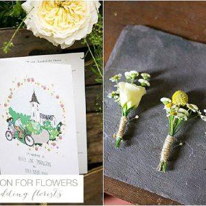 yellow buttonholes on slate wedding flowers