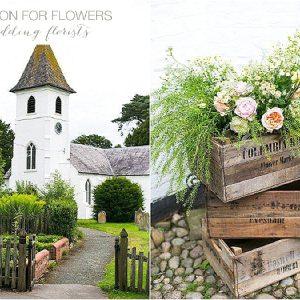 peach roses in crates rustic church wedding flowers