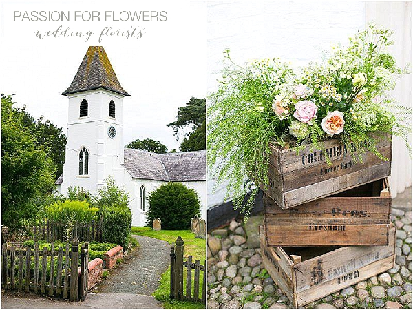 peach roses in crates rustic church wedding flowers