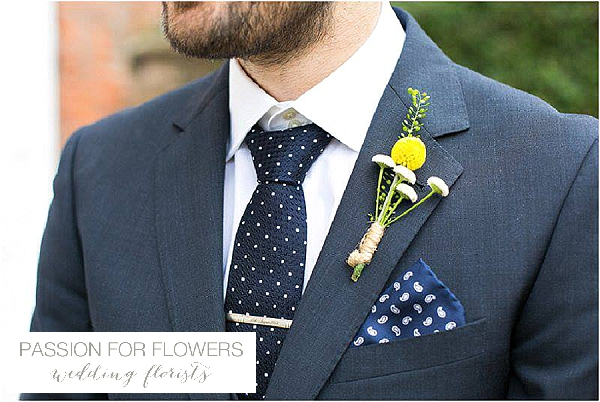 iscoyd park yellow buttonholes wedding flowers