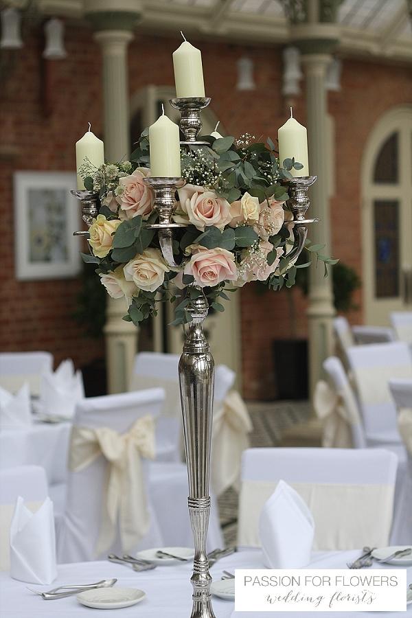 kilworth house wedding centrepieces flowers candelabra