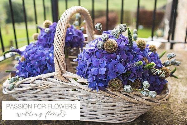 kingscote barn blue hydrangea bouquets wedding flowers