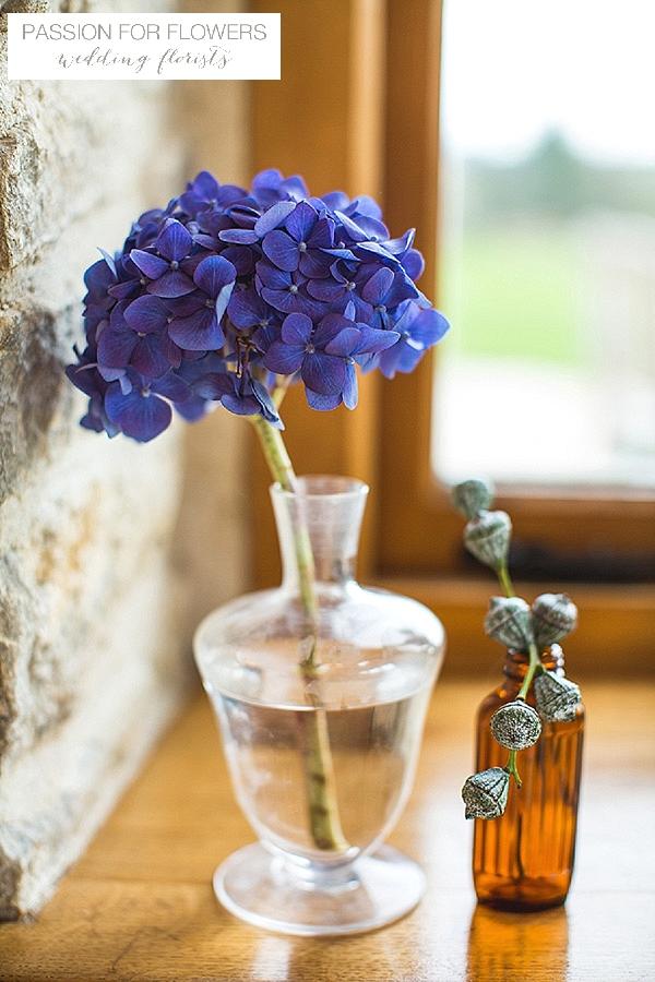 kingscote barn blue hydrangeas wedding flowers