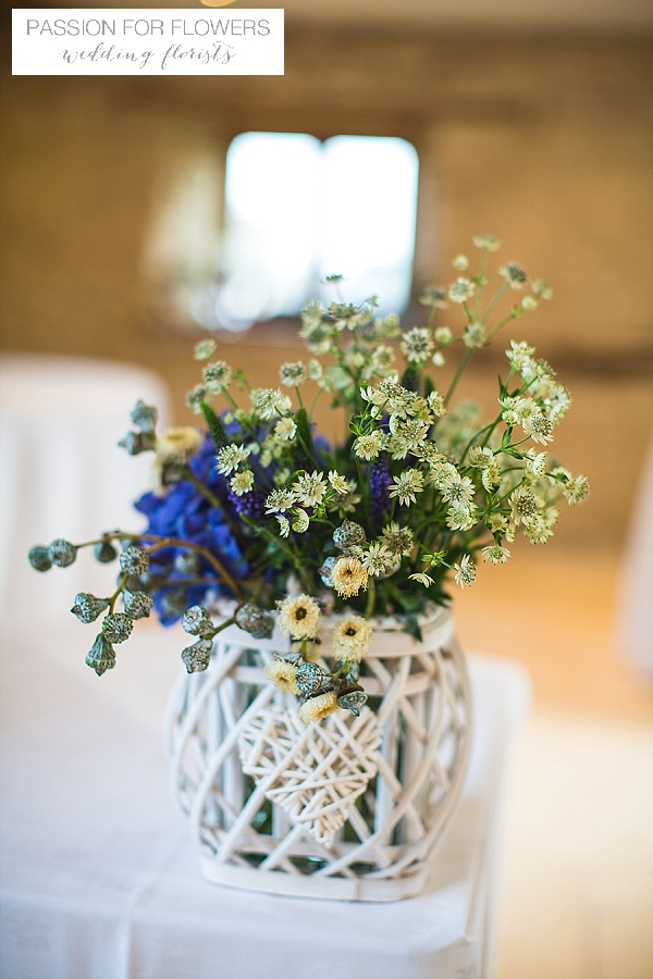 kingscote barn ceremony wedding flowers