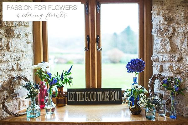 kingscote barn window sill wedding flowers