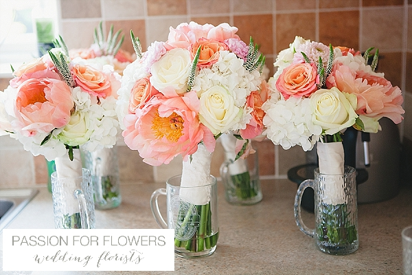 moxhull hall coral wedding flowers