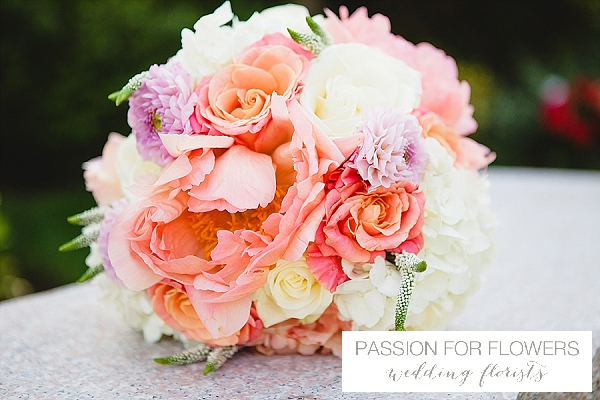 coral wedding flowers
