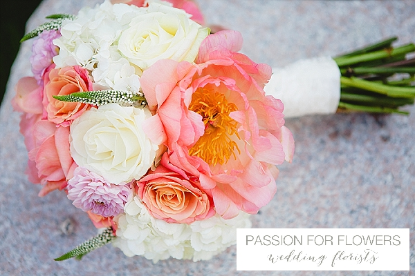 coral peach wedding flowers