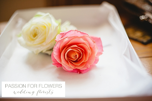 moxhull hall coral buttonholes wedding flowers