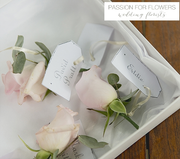 new hall wedding blush pink rose buttonholes flowers