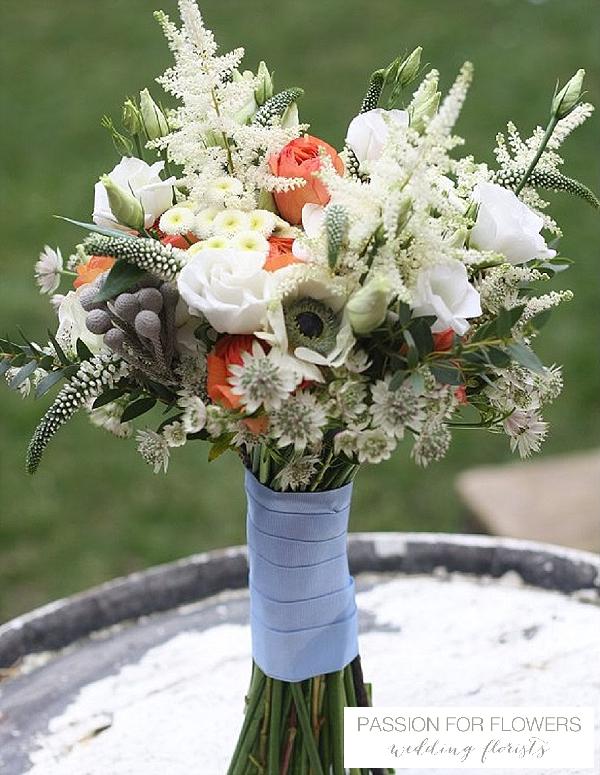 orange bridal bouquet  wedding flowers passion for flowers