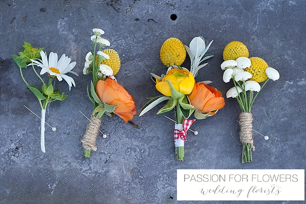 orange buttonholes wedding flowers passion for flowers