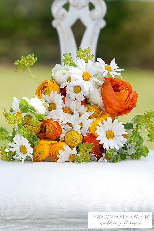 orange ranunculus daisy bouquet summer wedding flowers passion for flowers