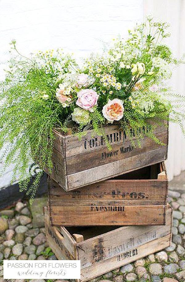 peach wedding flowers in crates passion for flowers