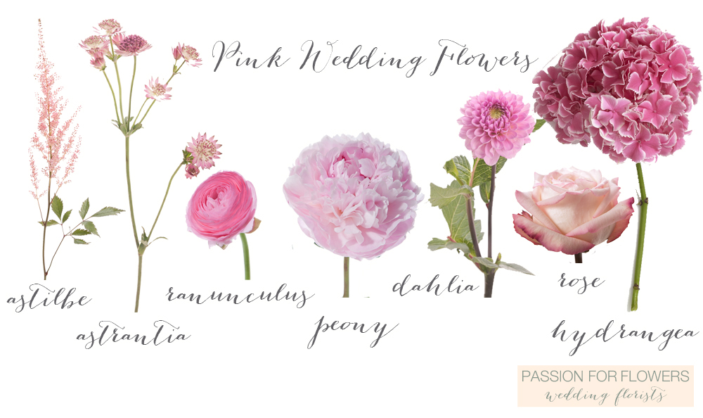 pink wedding flowers by passion for flowers