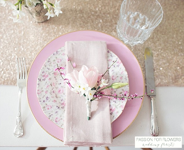 pink tulip broom napkin place setting wedding flowers passion for flowers wedding florists