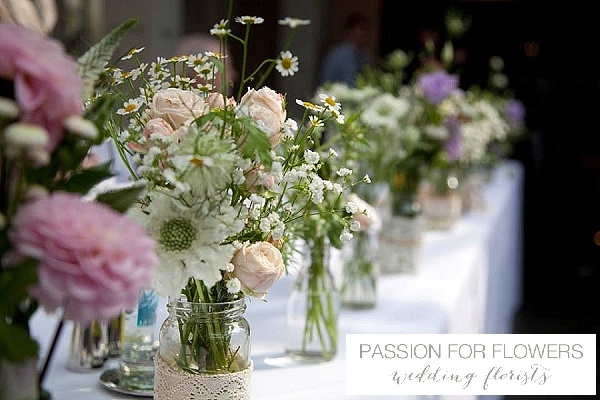 summer wedding flowers top table jam jars passion for flowers