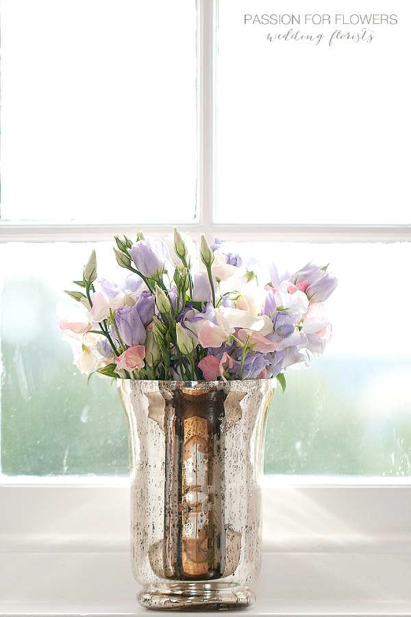 purple lisianthus sweet peas in silver vase wedding flowers passion for flowers