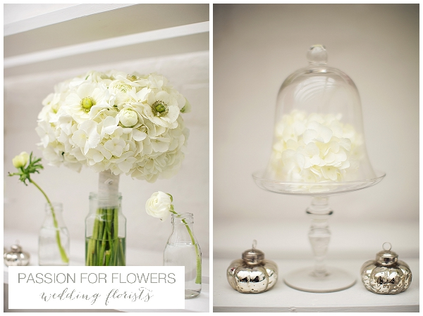 white hydrangea wedding bouquets