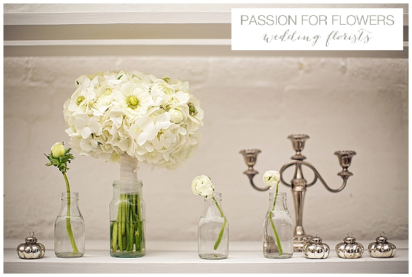 white hydrangea amemone wedding bouquets
