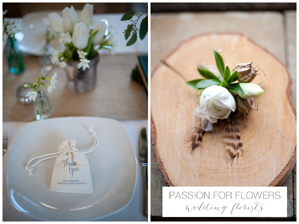 buttonhole rustic on wooden tree slice