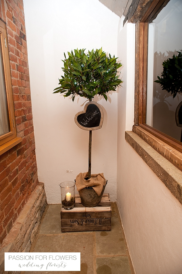 the moat house dorsington wedding bay tree welcome flowers